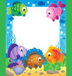 Fish theme frame 1 vector