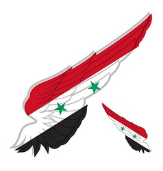 Flag of Syria on Abstract wing and white vector