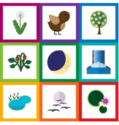 flat icon bio set of pond bird berry and other vector image