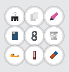 Flat icon equipment set of dossier trashcan vector