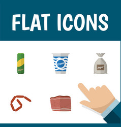 Flat icon food set of bratwurst beef spaghetti vector