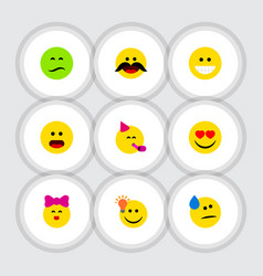 Flat icon gesture set of cheerful party time vector