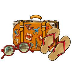 Flip flops sunglasses suitcase with tourist vector