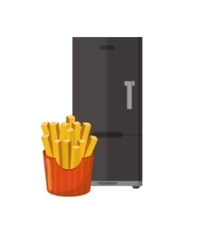 fridge and french fries icon vector image