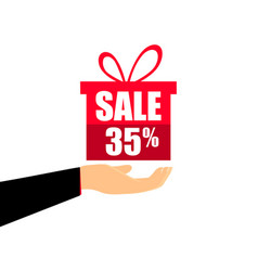 gift box on the hand with a 35 percent discount vector image