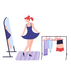 Girl dressing up in front mirror clothes and vector