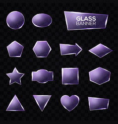 Glass plates set triangle square star circle vector