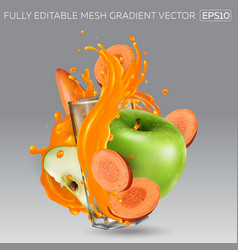 Green apples carrots and a glass with splashing vector
