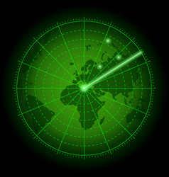 Green radar screen with world map background of vector