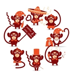 Happy new year monkey vector