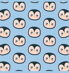 head of penguin icon pattern vector image