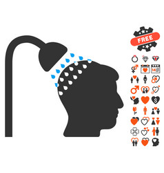 head shower icon with valentine bonus vector image