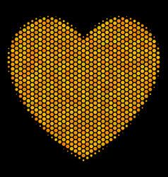 hexagon halftone love heart icon vector image