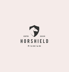 horse shield logo hipster vintage retro icon vector image