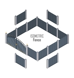 Isometric Fence in Dark Colors Isolated on White vector image