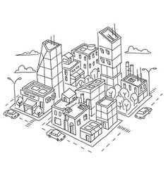 Isometric quarter big city sketch skyscrapers and vector