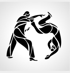 Judo fighters round pictogram or logo martial vector