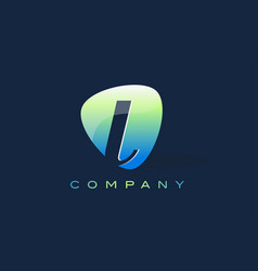 l letter logo oval shape modern design vector image