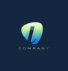 L letter logo oval shape modern design vector
