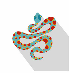 Light blue snake with orange spots icon flat style vector