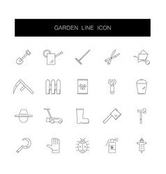 line icons set garden pack vector image
