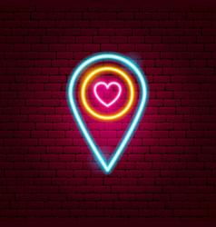 love map pin neon sign vector image