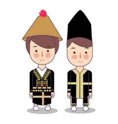 Malaysia sabah bride and groom cartoon wedding vector