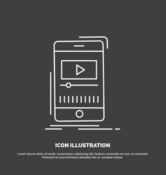 media music player video mobile icon line symbol vector image