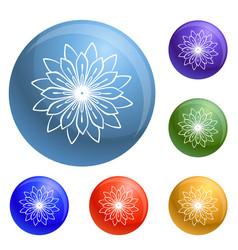 Medicine flower plant icons set vector