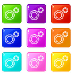 Mildew virus icons set 9 color collection vector
