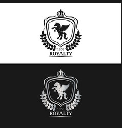 monogram logo template luxury pegasus vector image