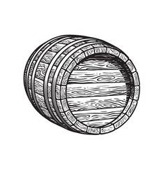 old wooden barrel lying on its side beer wine vector image