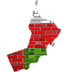 Oman map on a brick wall vector