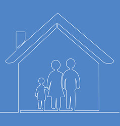 one line married couple and child in house concept vector image