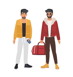 Pair of caucasian men wearing casual clothing and vector
