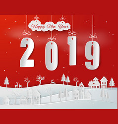 paper art of happy new year 2019 on red background vector image