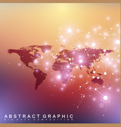 political world map with global technology vector image