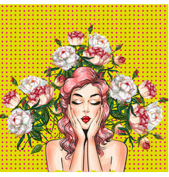 Pop art pin-up girl with peony flowers vector