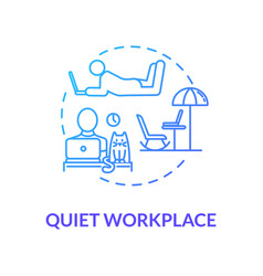 Quiet workplace blue concept icon personal work vector