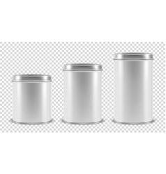 realistic 3d white blank metal tin can vector image
