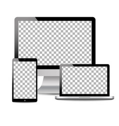 realistic computer laptop touch tablet in mockup vector image