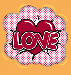 red heart over halftone background vector image