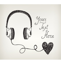Retro hand drawn doodle headphones earphones with vector