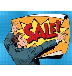 Retro man unfolds a poster sale vector image