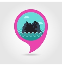 Rocks in the sea pin map icon Summer Vacation vector