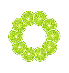 Round frame of lime slice citrus lime frame vector