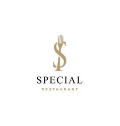 s letter mark fork food restaurant logo icon vector image