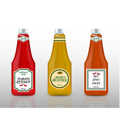 Sauce bottles realistic advertisement set vector