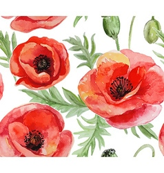 Seamless background with red watercolor poppies vector