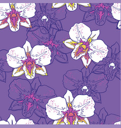 Seamless floral pattern white orchids vector